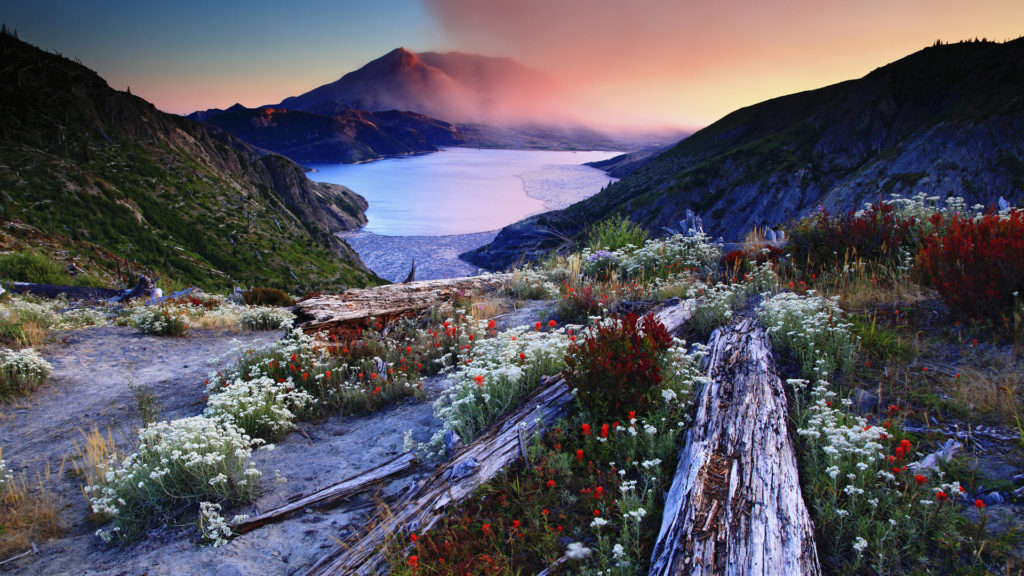 Sunset over Mount St. Helens and Spirit Lake, from Norway Pass, Mount St. Helens National Volcanic Monument, Washington.
